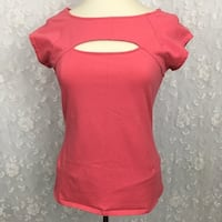 Guess Coral Pink Cutout Chest Top (Size S)