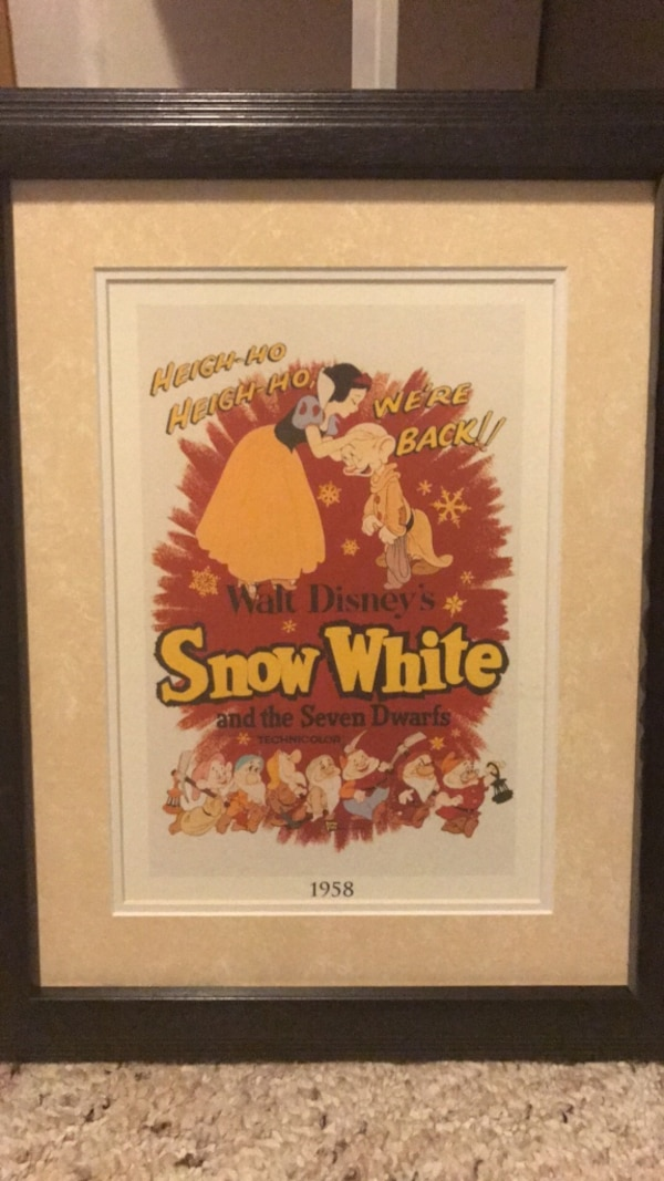 Disney Snow White framed Lithograph movie posters.