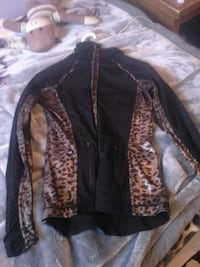 black and brown leopard printed zip-up jacket