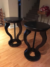 Two round black wooden side tables Pointe-Claire, H9R 1Y3