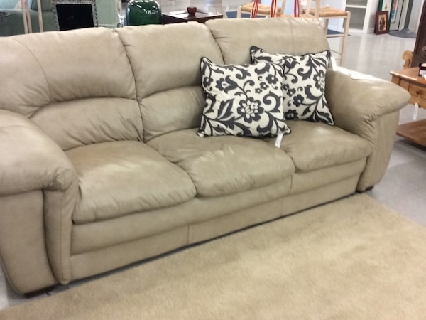 Cream Leather Look Sofa