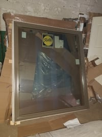 Brown Trim Solid Glass Double Pane Window Kingston