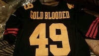 black and white gold blooded 49 football jersey Pittsburg, 94565