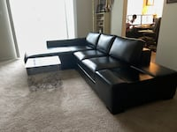 Black Leather Sectional Couch Woodbridge, 22191