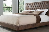 Brown Queen Bed-Mattress EXTRA--0-50 DOWN-PLEASE READ WHOLE AD