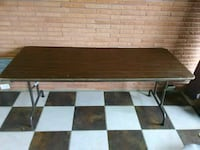 rectangular brown wooden table with white metal base Victoria, 77901
