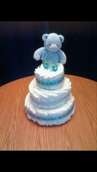 white 3-tier towel cake and blue bear plush toy Innisfil, L9S