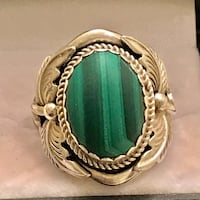 Enormous, Navavajo made/signed Malachite Green and Sterling Silver Ring. Frederick, 21701