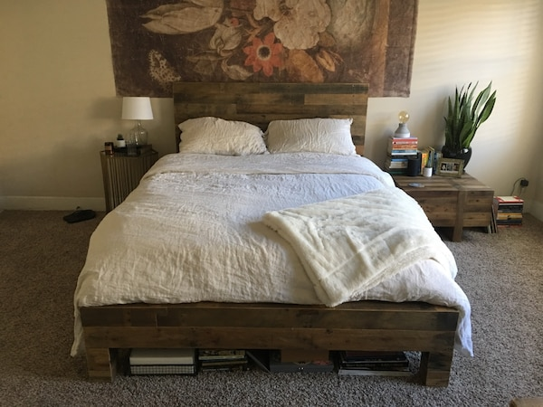 Used West Elm Emmerson Reclaimed Wood Bed & Memory Foam ...