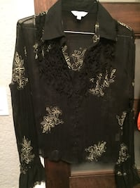 Black floral long-sleeved buttoned-up polo shirt 3767 km