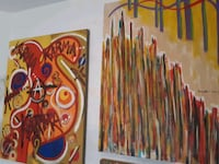 red, yellow, and blue abstract painting Las Vegas, 89147