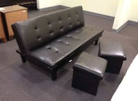 Brand New Leather Futon w/2 Storage Ottomans  Silver Spring, 20902