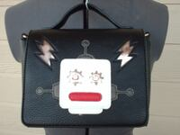 Black Faux Leather Purse Monster Design Handle or Strap NWT Moore
