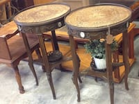 two round brown wooden side tables Seffner, 33584