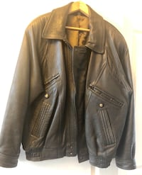 Men's black leather winter bomber jacket