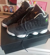 Pair of black air jordan 13's retros with box Chicago