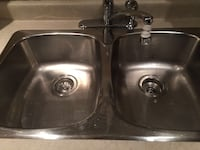 grey stainless steel twin sink with faucet Georgina