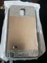 silver clear gemstone encrusted phone case
