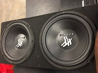 black and gray Hifonics subwoofer 745 mi