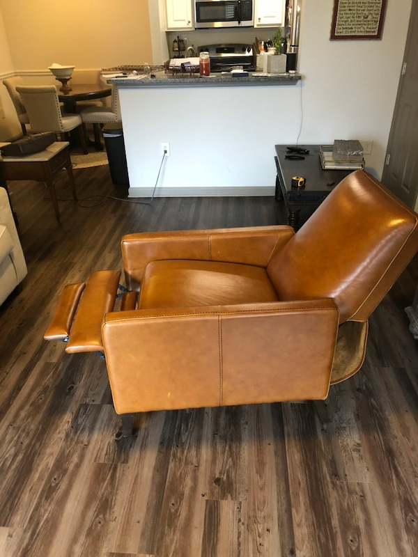West Elm Cognac Sedgwick Leather Recliner Original Bought At 1300