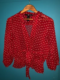 BEDO SHEER RED AND WHITE POLKA DOT CROP TOP