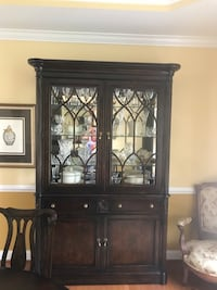 Dining Room Set- 11 pcs. - 8 chairs ( 2 with arms ) China cabinet that has lights inside and a buffet. All in excellent condition  Ashburn, 20147
