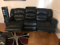 black leather 3-seat recliner sofa Falls Church
