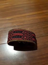 Lether red and black Mexican bracelet. Saanich
