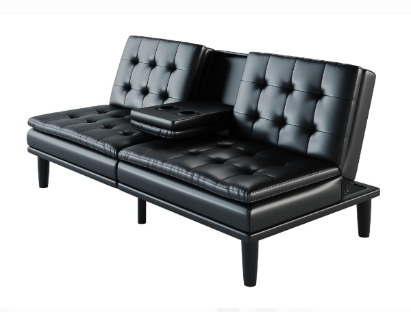 Faux Leather Sofa With Cupholders