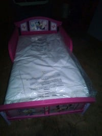 white and pink minnie mouse toddler bed with mattr Searcy, 72143