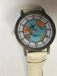 round silver analog watch with white leather strap Falls Church, 22041
