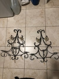 Wrought iron wall mounted candle holders sconces