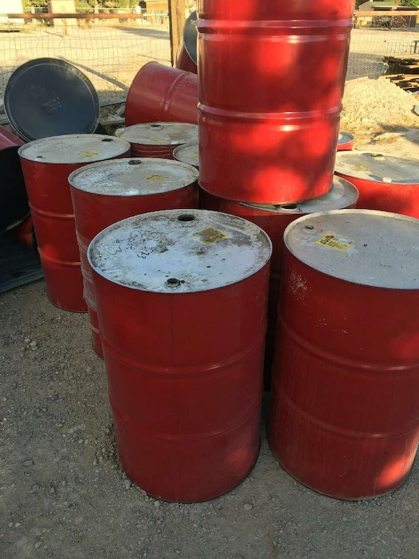 55 gallon steel drums, red