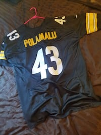 black, yellow, and white Polamalu 43 football jersety
