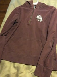 brown and white pullover hoodie 374 mi