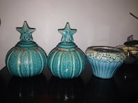 Three blue ceramic and a vases with lids Albuquerque, 87111