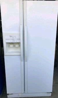 white side-by-side refrigerator with dispenser Edmonton, T6L 7C1