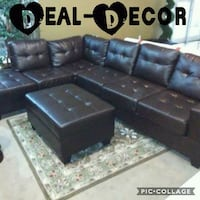 Leather Sectional with Storage Ottoman 530 mi