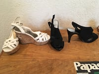 two pairs of black and white wedge sandals Vallejo, 94590