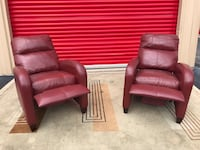 2 red leather pushback recliner recliners Houston, 77083
