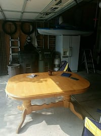 brown wooden pedestal table Leafs Howell, 48843