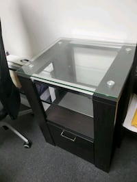 Glass filing cabinet / Nightstand, like new, espresso color