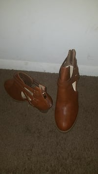 pair of brown leather booties Baltimore, 21212