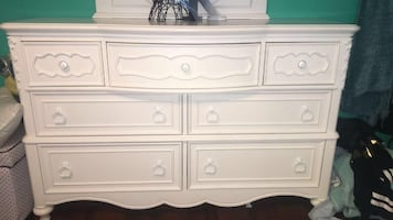 white wooden 3-drawer chest with side table