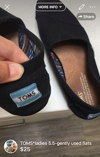 TOMS*ladies 5.5-gently used flats London, N5W 6E2