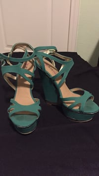 Green-and-brown open-toe wedge sandals Corpus Christi, 78414