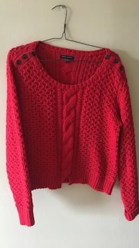 red cable knit scoop neck long sleeve cardgan Ottawa