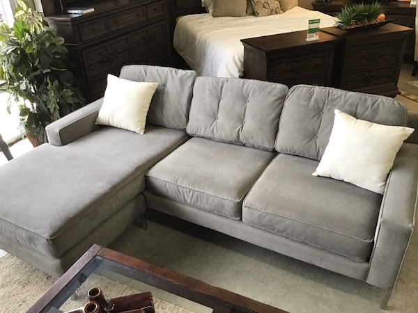 Wondrous 93 Parker Blue Grey Tufted Fabric Reverse Chaise Sofa Gmtry Best Dining Table And Chair Ideas Images Gmtryco