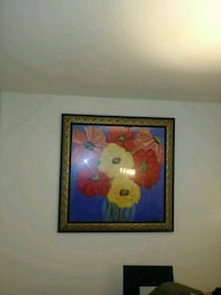 brown wooden framed painting of flowers Gaithersburg, 20877