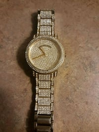 round gold analog watch with gold link bracelet Indianapolis, 46203